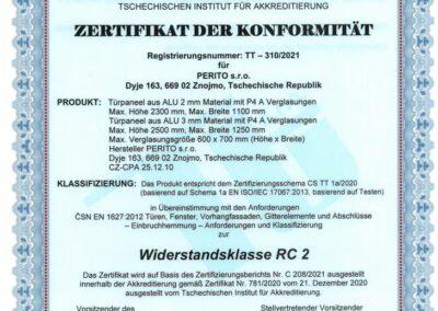 Zertifikat der Konformität - Widerstandsklasse RC 2 - PERITO ALU