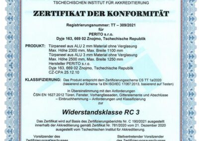 Zertifikat der Konformität - Widerstandsklasse RC 3 - PERITO ALU