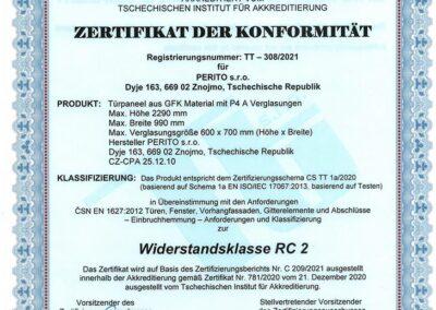 Zertifikat der Konformität - Widerstandsklasse RC 2 - PERITO GFK