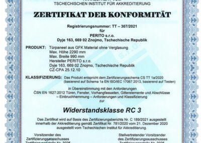 Zertifikat der Konformität - Widerstandsklasse RC 3 - PERITO GFK