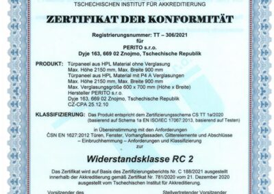 Zertifikat der Konformität - Widerstandsklasse RC 2 - PERITO HPL
